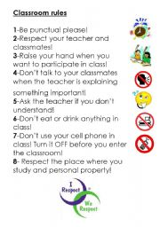 classroom rules esl worksheet by silvanag14