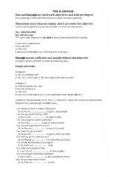 English Worksheets: too