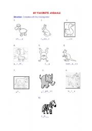 English Worksheets: MY FAVORITES ANIMALS