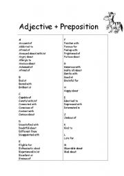 English Prepositions List Pdf