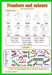 NUMBERS AND COLOURS. 4 PAGES (12 ACTIVITIES)