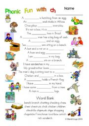 English Worksheets: 3 pages of Phonic Fun with ch: worksheet, story and key (#6)