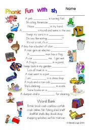 English Worksheets: 3 pages of Phonic Fun with sh: worksheet, story and key (#7)