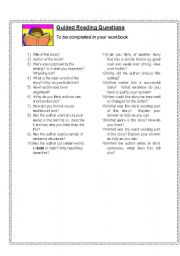 English Worksheets: guided reading questions