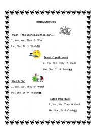 English worksheets: Present Simple Irregular verbs (3rd person ...