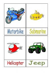 English Worksheet: Means of Transport Flashcards - Part 1/3