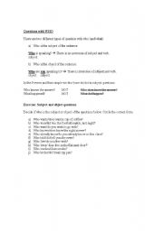 English Worksheets: Questions with WHO
