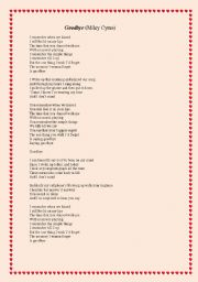 English Worksheets: Goodbye (Miley Cyrus)