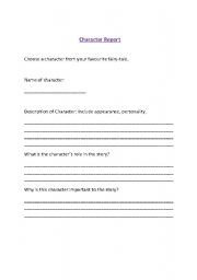 English Worksheets: Character Report