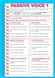 English Worksheets: PASSIVE VOICE 1 + KEY INCLUDED