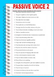English Worksheets: PASSIVE VOICE 2 + KEY INCLUDED