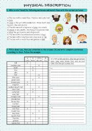 English Worksheet: Physical description - exercise