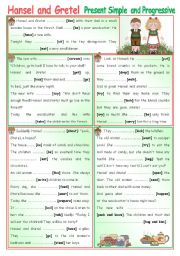 English Worksheets: Fairy Tales/Stories (7): Hansel and Gretel - Present Simple and Progressive