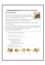 Worksheet The Lion And The Mouse Worksheets the lion and mouse worksheet by fafauu english mouse