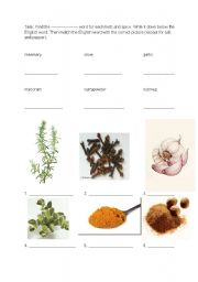 English Worksheet: Food - herbs and spices 1