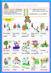 English Worksheet: the present progressive