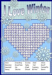 i love winter puzzle esl worksheet by sevim 6. Black Bedroom Furniture Sets. Home Design Ideas