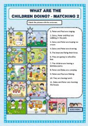English Worksheet: WHAT ARE THE CHILDREN DOING? - MATCHING (2)