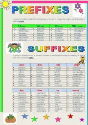 English Worksheets: Word-Formation Prefixes and Suffixes