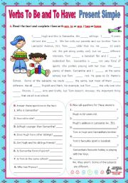 English Worksheet: Verbs to be and to have - Simple Present - Affirmative, negative and Interrogative forms  (2)