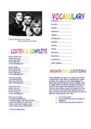 English Worksheets: Every Breath You Take by Sting