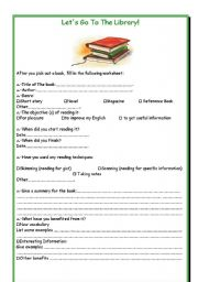 English Worksheet: Let�s Go To The Library!