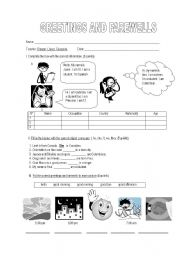 English Worksheets: Greetings and farewells