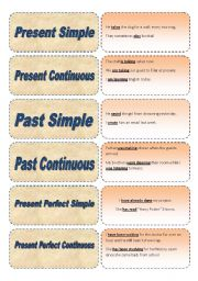 English Worksheet: Tenses Memory Game