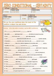 English Worksheet: CONDITIONAL ZERO