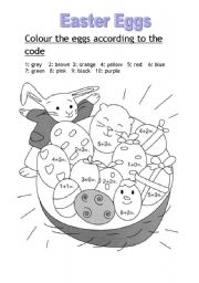 Colour the eggs acording to the code