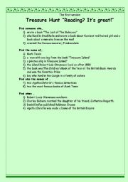 English Worksheet: Treasure Hunt �Reading? It�s great!�