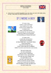 English Worksheet: If I Were a Boy-Beyoncé-Conditionals-Different kinds of exercises on the lyrics-Key included