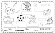 English Worksheet: KINDER -  TOYS  1 -  B&W � editable