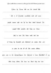 English teaching worksheets: Unscramble sentences