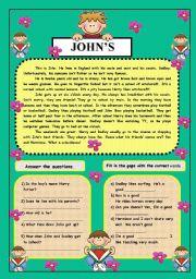 English Worksheets: John´s life