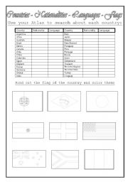 English Worksheet: Countries - Nationalities - Languages - Flags