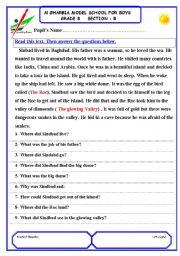 sindbad the sailor reading comprehension test