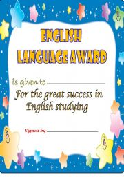 English Worksheet: ENGLISH LANGUAGE AWARD -2-
