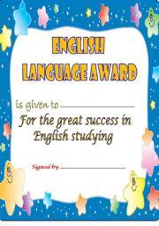 English Worksheets: ENGLISH LANGUAGE AWARD -2-