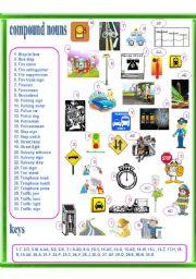 English Worksheets: compound nouns - city, traffic