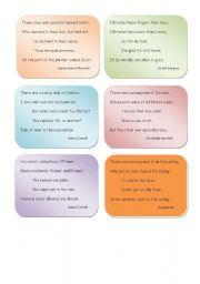 English Worksheet: 18 different Limericks