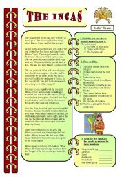 worksheet: Reading - The Incas