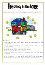 English worksheet: Fire safety in the house