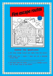 English worksheet fire escape routes for Fire escape plan worksheet