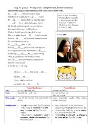 English Worksheet: use a song to learn present continuous and simple present
