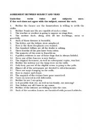 English Worksheet: agreement between subject and verb