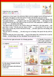 English Worksheets: samantha�s daily routines