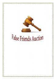 English Worksheet: False Friends Auction