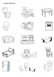 English Worksheet: Color The Furniture And Match The Furniture With The  Rooms In The House