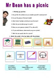 English Worksheet: Mr Bean has a picnic - VIDEO SESSION